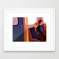 johnlock Framed Art Prints featuring Johnlock on the tube after a case by Sama Ma