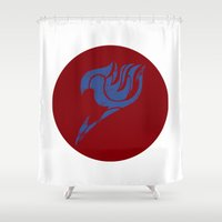 fairy tail Shower Curtains featuring Fairy Tail Segmented Logo (Erza) circle by JoshBeck