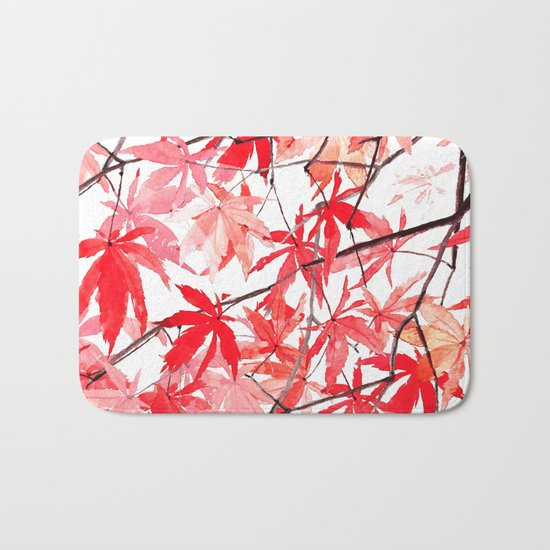 red orange maple leaves watercolor painting 2 Bath Mat