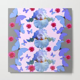 ROSES PASTEL IRISES BLUE-PURPLE BUTTERFLIES ABSTRACT Metal Print
