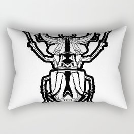 Stag Beetle _ Psychedelic bug 3.3 Black and white Rectangular Pillow