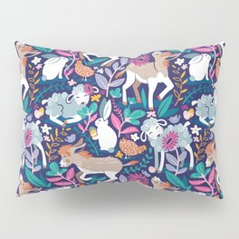 Spring Joy // navy blue background pale blue lambs and brown taupe donkeys blue mint and pink garden Pillow Sham