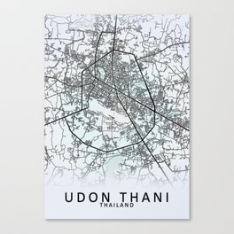 Udon Thani, Thailand, White, City, Map Canvas Print