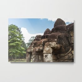 Stone Elephants at Angkor Thom, Siem Reap, Cambodia Metal Print