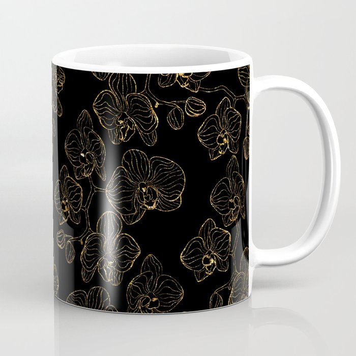 Flowers orchids ornament gold Coffee Mug