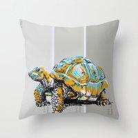 tortoise Throw Pillows featuring Tortoise by aceta