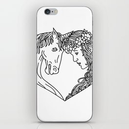 Unicorn and Maiden Heart Drawing iPhone Skin