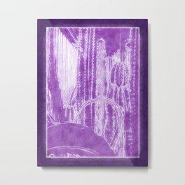 Cactus Garden Outlined Purple Metal Print