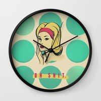shit Wall Clocks featuring oh shit by aftr drk