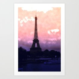 Paris Pastel Heart Bokeh Art Print