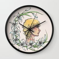 enjolras Wall Clocks featuring Enjolras and lilies by MonsterFromTheLAke