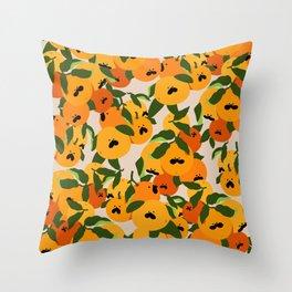 Pug Orange Pattern  Throw Pillow