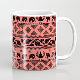 ethnic pattern on living coral background Coffee Mug