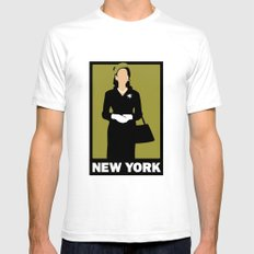 New York SMALL Mens Fitted Tee White