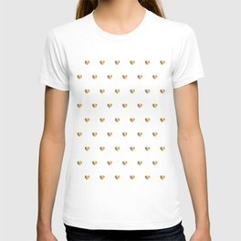 Small gold hearts pattern on white T-shirt
