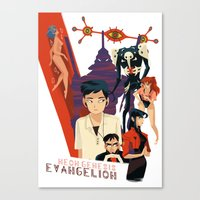 evangelion Canvas Prints featuring Evangelion by Collectif PinUp!