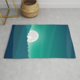 sunset with moon Rug