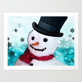 Snowman Christmas Art - Frosty - Holiday Artwork by Sharon Cummings Art Print