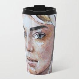Watercolor art, portrait blonde girl Travel Mug