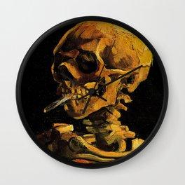 Van Gogh, Skull of a Skeleton with Burning Cigarette  – Van Gogh,Vincent Van Gogh,impressionist,post Wall Clock