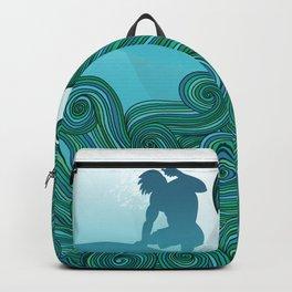 Surfer Dude Hangin Ten Backpack
