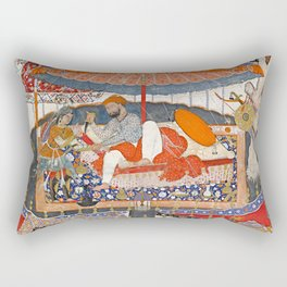 16th Century India Watercolor Painting Rectangular Pillow