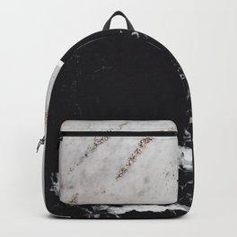 White Glitter Marble & Black Marble #1 #decor #art #society6 Backpack