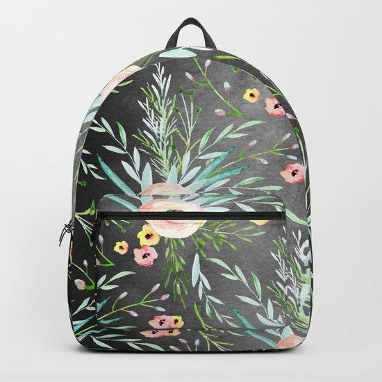 1920 Floral on Dark Gray Backpack