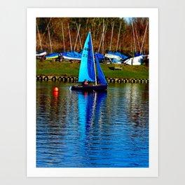 Little Blue Sailboat  Art Print