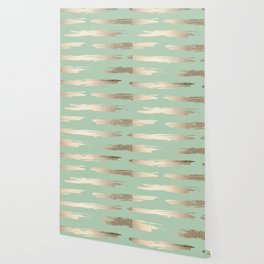 Simply Brushed Stripe White Gold Sands on Pastel Cactus Green Wallpaper
