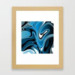 Liquify in Denim, Navy Blue, Black, White Framed Art Print