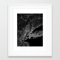 new york map Framed Art Prints featuring New York map by Line Line Lines