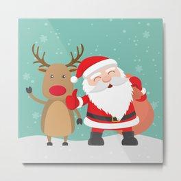 Noel and Deer Enjoying the Christmas Metal Print