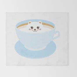 Cute Kawai cat in blue cup Throw Blanket