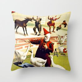 Barnum and Bailey Circus Geese and musical donkey Throw Pillow