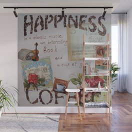 Collage hapiness Coffee quote motivation shabby chic by Ksavera Wall Mural