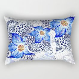 Grunge Blue Acrylic Flowers Rectangular Pillow