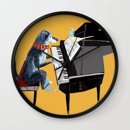 Piano lesson ( Doggy Art ) Wall Clock