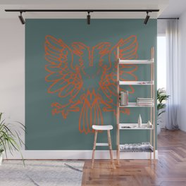 red double-headed eagle on gray background Wall Mural