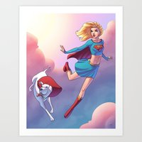 karu kara Art Prints featuring Kara And Krypto by J Skipper