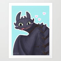 toothless Art Prints featuring Toothless by enerjax