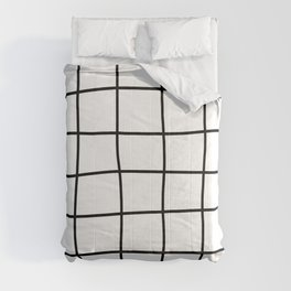 Large Hand Drawn Grid (black/white) Comforters