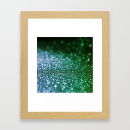 Aqua Glitter effect- Sparkling print in green and blue Framed Art Print