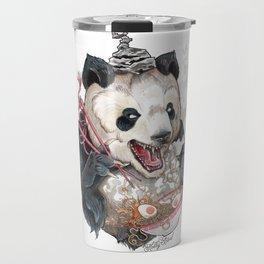 Panda Eating Ramen In A Tin Foil hat Travel Mug