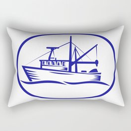 Commercial Fishing Boat Oval Woodcut Rectangular Pillow