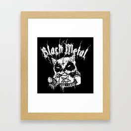 Grim Black Metal Corpse Paint Racoon! Framed Art Print