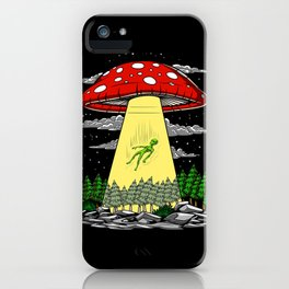 Alien Abduction Magic Mushrooms Psychedelic UFO iPhone Case