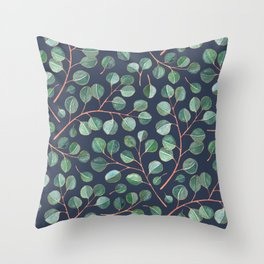 Simple Silver Dollar Eucalyptus Leaves on Navy Throw Pillow