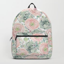 Flowers And Succulents White  #buyart #decor #society6 Backpack