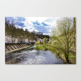 Looking Down the Alzette River with Spring Trees Blooming on Each Side in Luxembourg City Canvas Print